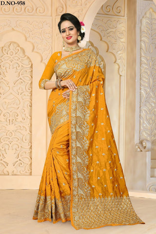 Gold Color Zoya ArtSilk Saree - ZoyaReturns-958