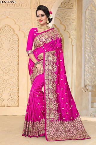 Rani Pink Color Zoya ArtSilk Saree - ZoyaReturns-959