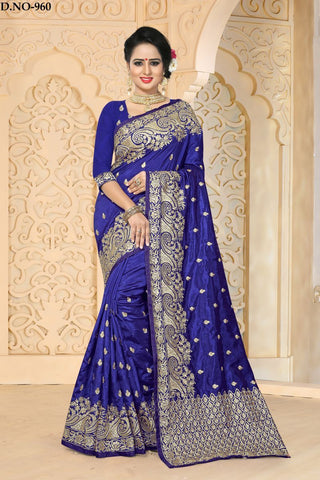 Navy Blue Color Zoya ArtSilk Saree - ZoyaReturns-960