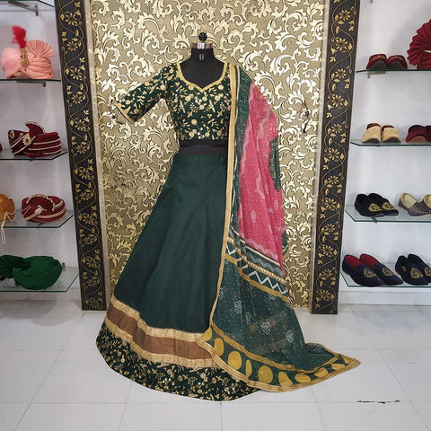 Dark Green Color Banglory Women's Lehenga - ab-201