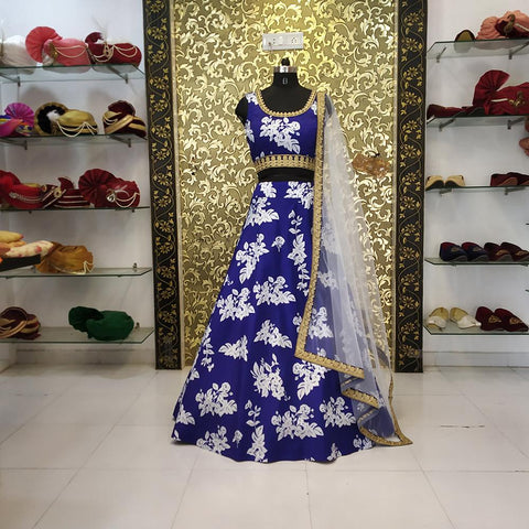 Blue Color Taffeta  Women's Lehenga - ab-209