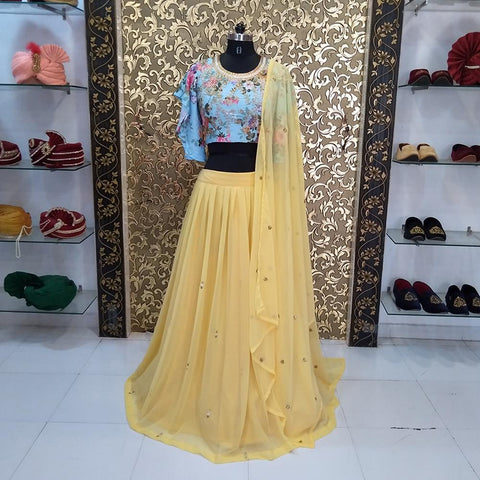 Yellow Color Georgette Women's Crop Top - ab-211