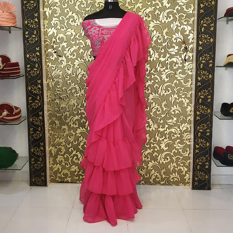 Pink Color Georgette Women's Saree - ab-213
