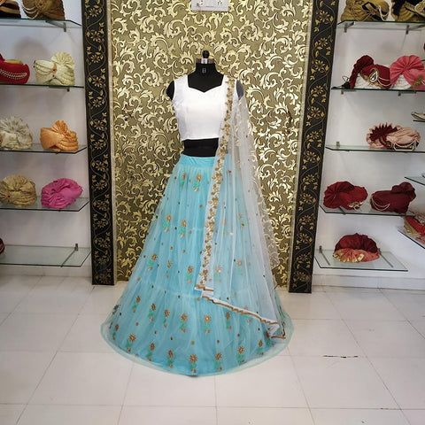 Sky Blue Color Net Women's Lehenga - ab-224