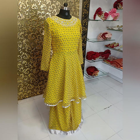 Yellow Color Georgette Women's Sharara - ab-225