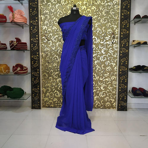 Blue Color Georgette Women's Saree - ab-227