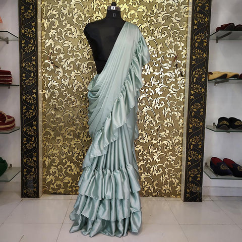 Light Pista Color Satin Women's Saree - ab-231