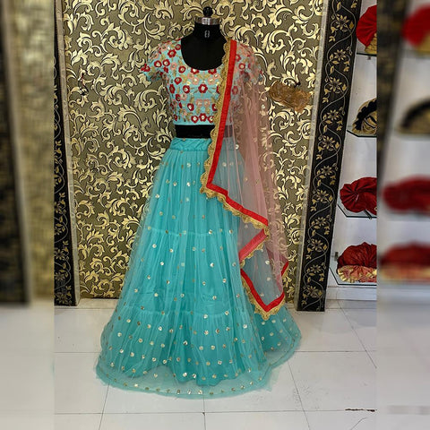 Bottle Green Color Net Women's Lehenga - ab-235