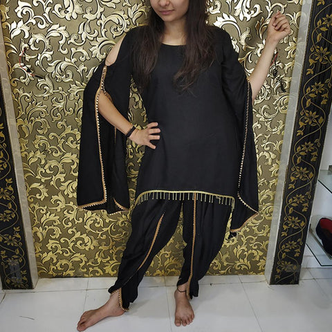 Black Color Rayon Women's Patiala - ab-241