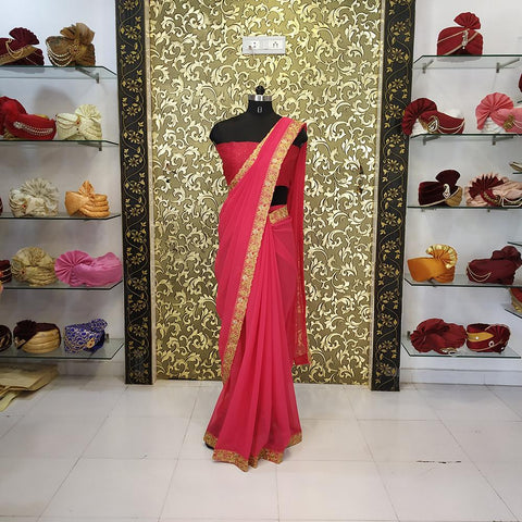 Tomato Red Color Georgette  Women's Saree - ab-255