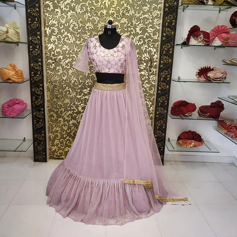 Sand Pink Color Georgette Women's Lehenga  - ab-257