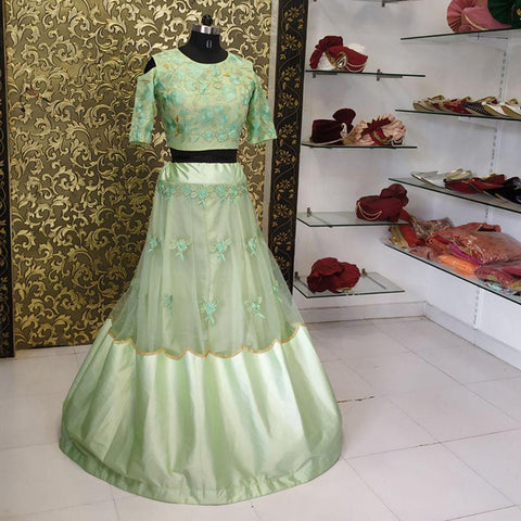 Pista Green Color Net Women's Lehenga - ab-259