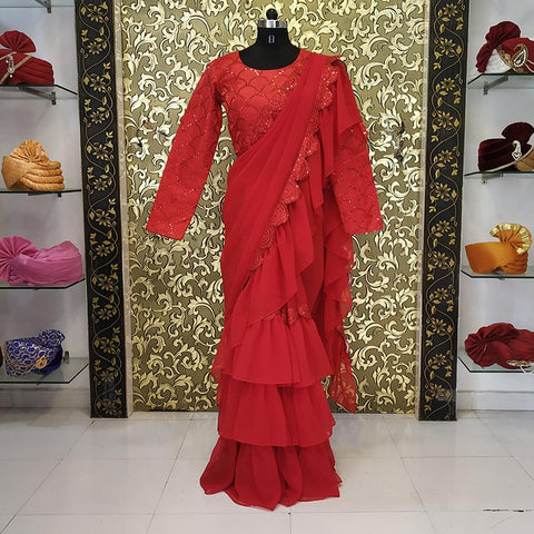 Red Color Georgette Women's Saree - ab-268