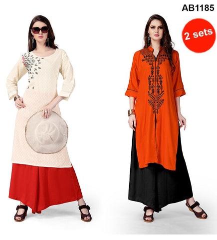 Cream and Orange Color Rayon Kurtis - RF-002 , RF-001