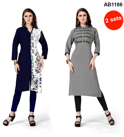 Blue and Grey Color Rayon Stitched Kurtis - RF-003 , RF-004