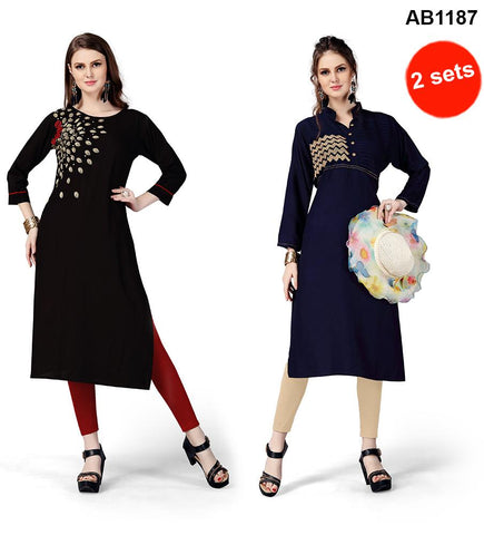 Black and Blue Color Rayon Stitched Kurtis - RF-005 , RF-006