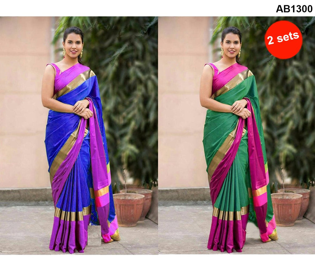 Blue and Green Color Cotton Silk Sarees