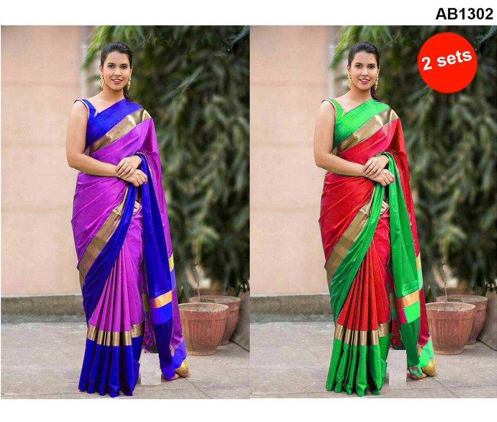 Pink and Red Color Cotton Silk Sarees