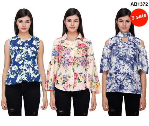 COMBOS-Multi and Green Color Printed Tops - RCTPSS032 , RCTPSS033 , RCTPSS034