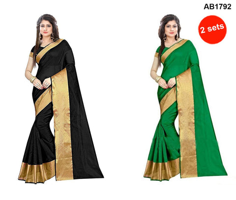 COMBOS-Cotton Silk Sarees - SRP-LPB-Black , SRP-LPB-Green