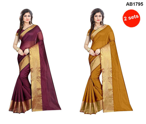 COMBOS-Cotton Silk Sarees - SRP-LPB-Maroon , SRP-LPB-Gold