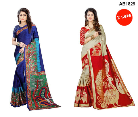 COMBOS-StrawBerry and Fancy Cotton Silk Sarees - SRP-Zara Dark Blue , SRP-Peacock Red