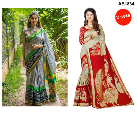 COMBOS-StrawBerry Silk Sarees - SRP-Grey Zigzag , SRP-Peacock Red