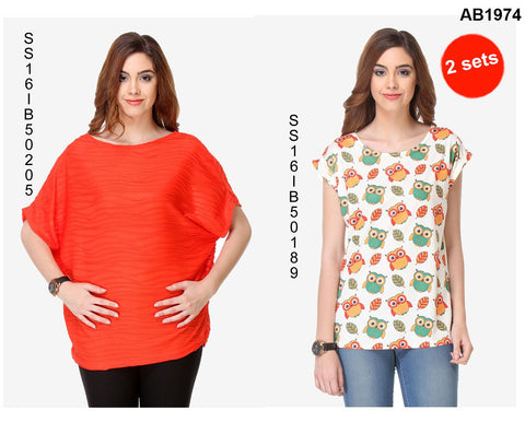 COMBOS-Red and White Color Cotton T-Shirt - SS16IB50205 , SS16IB50189
