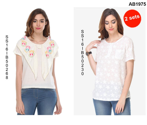 COMBOS-White Color Cotton T-Shirt - SS16IB50268 , SS16IB50230