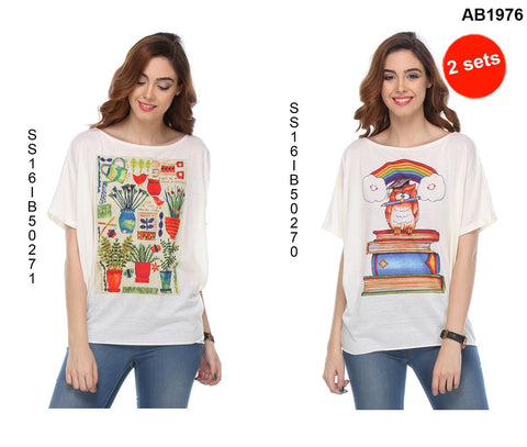 COMBOS-White Color Cotton T-Shirt - SS16IB50271 , SS16IB50270