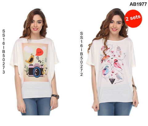 COMBOS-White Color Cotton T-Shirt - SS16IB50273 , SS16IB50272