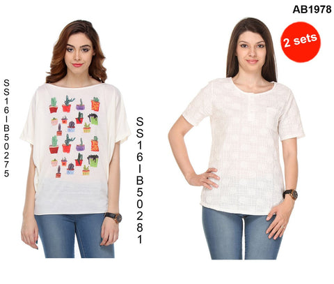 COMBOS-White Color Cotton T-Shirt - SS16IB50275 , SS16IB50281