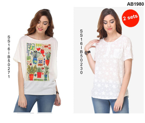 COMBOS-White Color Cotton T-Shirt - SS16IB50271 , SS16IB50230