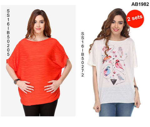 COMBOS-Red and White Color Cotton T-Shirt - SS16IB50205 , SS16IB50272