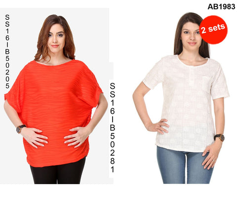 COMBOS-Red and White Color Cotton T-Shirt - SS16IB50205 , SS16IB50281