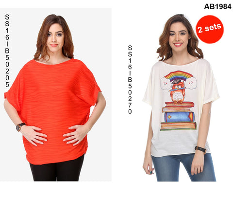 COMBOS-Red and White Color Cotton T-Shirt - SS16IB50205 , SS16IB50270
