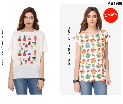 COMBOS-White Color Cotton T-Shirt - SS16IB50275 , SS16IB50189
