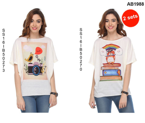 COMBOS-White Color Cotton T-Shirt - SS16IB50273 , SS16IB50270