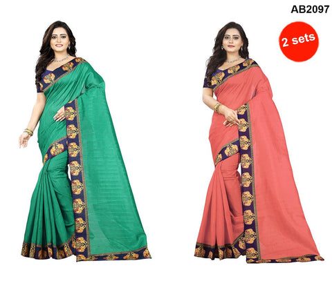Peach and Green Color Bhagalpuri Silk Sarees - ganesha-green-1 , ganesha-peach-1