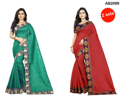 Green and Red Color Bhagalpuri Silk Sarees - house-green-1 , ganesha-red-1