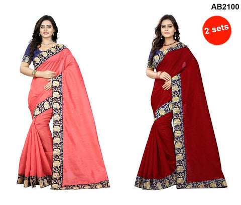 Peach and Red Color Bhagalpuri Silk Sarees - house-peach-1 , house-red-1