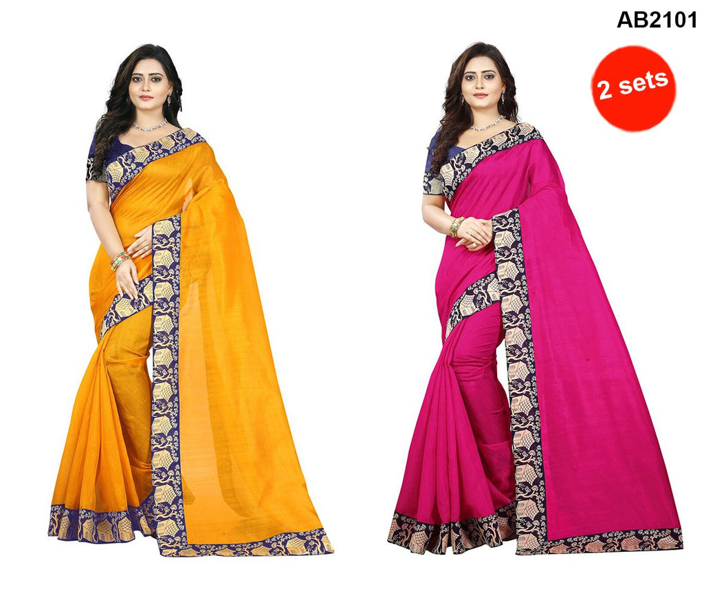 Yellow and Pink Color Bhagalpuri Silk Saree
