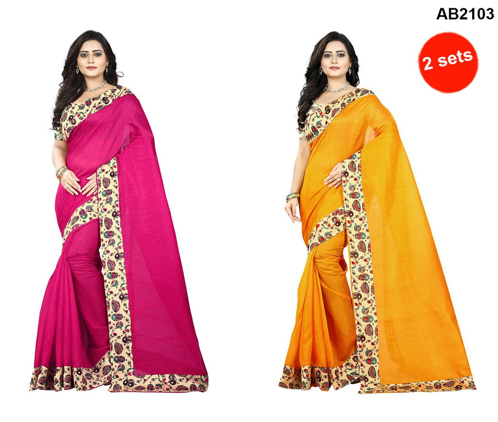 Pink and Yellow Color Bhagalpuri Silk Saree