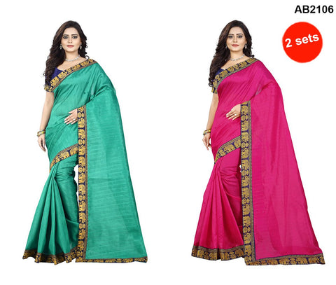Green and Pink Color Bhagalpuri Silk Sarees - matka-green-1 , matka-pink-1