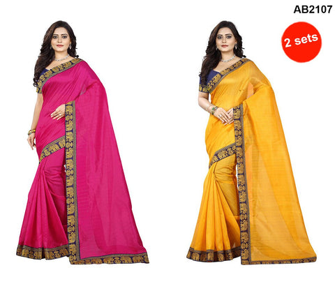 Pink and Yellow Color Bhagalpuri Silk Sarees - matka-pink-1 , matka-yellow-1