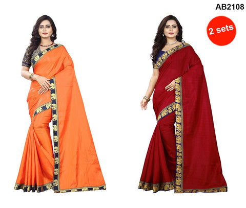 Orange and Red Color Bhagalpuri Silk and PaperSilk Sarees - papersilk-orange-1 , matka-red-1