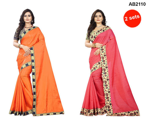 Orange and Peach Color Bhagalpuri Silk and PaperSilk Sarees - papersilk-orange-1 , instuments-peach-1