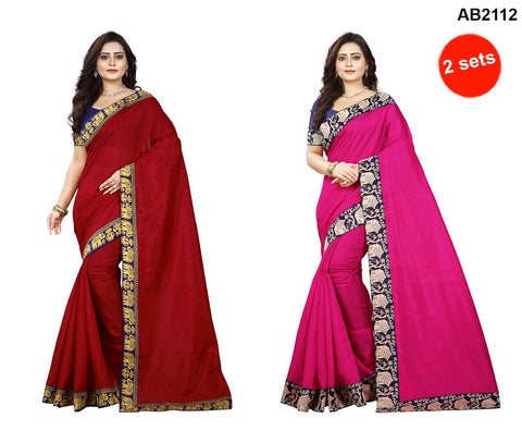 Red and Pink Color Bhagalpuri Silk Sarees - matka-red-1 , house-pink-1