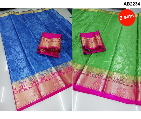 COMBOS-Poly Silk and Jacquard Sarees - SRP-Velly White-Red , SRP-Velly Pink-Blue