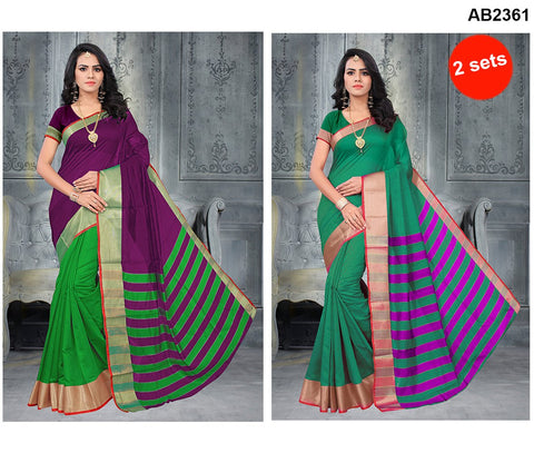COMBOS-Poly Cotton Silk  Sarees - SRP-Half Green Purple , SP-Danbang Sea Green